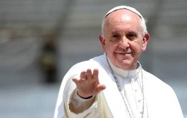 Pope Francis waves as he leaves after his weekly general audience in St Peter